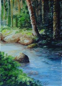 Pintura Original Em Aquarela Bosque Com Rio 35x25cm - Tela/Quadro Para Decoração Da Sua Casa
