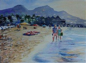 Pintura Original Em Aquarela - Casal-Passeio Na Praia 35x25 cm - Tela/Quadro Para Decoração Da Sua Casa