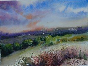 Pintura Original Em Aquarela - Um Entardecer No Campo 37x27 cm - Tela/Quadro Para Decoração Da Sua Casa