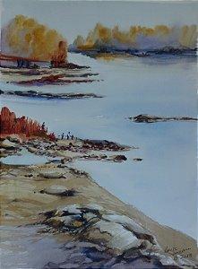 Pintura Original Em Aquarela - Outono No Lago 37x27 cm - Tela/Quadro Para Decoração Da Sua Casa