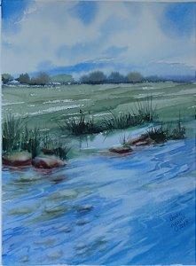 Pintura Original Em Aquarela Um Certo Lago 37x27cm - Tela/Quadro Para Decoração Da Sua Casa