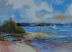 Pintura Original Em Aquarela Veleiros a Tarde 37x27cm - Tela/Quadro Para Decoração Da Sua Casa