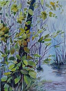VENDIDO - Pintura Original Em Aquarela  Natureza 37x27 cm - Tela/Quadro Para Decoração Da Sua Casa