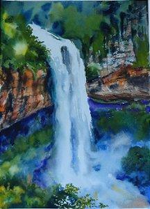 Pintura Original Em Aquarela Cascata Do Sul Do Brasil 37x27cm - Tela/Quadro Para Decoração Da Sua Casa