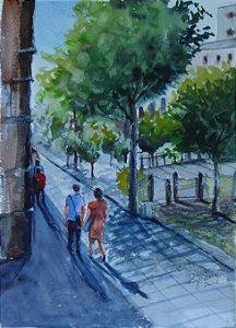 Pintura Original Em Aquarela - Passeio 37x27 cm - Tela/Quadro Para Decoração Da Sua Casa