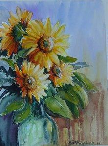 Pintura Original Em Aquarela - Girassóis 37x27 cm  - Tela/Quadro Para Decoração Da Sua Casa
