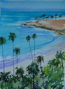 VENDIDO - Pintura Original Em Aquarela - Praia Do Sul do Brasil 37x27 cm - Tela/Quadro Para Decoração Da Sua Casa