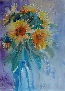 Pintura Original Em Aquarela Girassóis No Vaso 37x27cm - Tela/Quadro Para Decoração Do Sua Casa