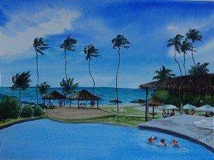 Pintura Original Em Aquarela - Resort 37x27 cm - Tela/Quadro Para Decoração Da Sua Casa