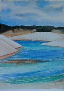 Pintura Original Em Aquarela - Lençois 37x27 cm - Tela/Quadro Para Decoração Da Sua Casa
