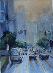 Pintura Original Em Aquarela Urbano Fim De Tarde No Trânsito 37x27cm - Tela/Quadro Para Decoração Da Sua Casa