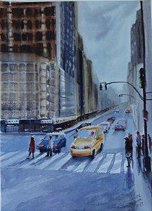 Pintura Original Em Aquarela Urbano No Semáforo 37x27cm - Tela/Quadro Para Decoração Da Sua Casa