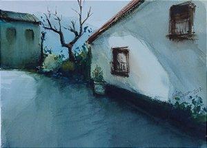 Pintura Original Em Aquarela - Solidão 33x24 cm - Tela/Quadro Para Decoração Da Sua Casa