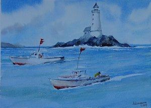 Pintura Original Em Aquarela Farol e Barcos 37x27cm - Tela/Quadro Para Decoração Da Sua Casa