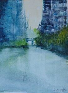 Pintura Original Em Aquarela Urbano Solidão 38x28cm - Tela/Quadro Para Decoração Da Sua Casa