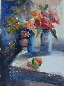 VENDIDO - Pintura Original Em Aquarela - Natureza Morta Com Flores e Frutas I 38x28 cm - Tela/Quadro Para Decoração Da Sua Casa