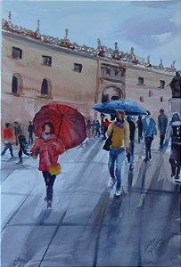 Pintura Original Em Aquarela Pessoas Na Rua 46x31cm - Tela/Quadro Para Decoração Da Sua Casa
