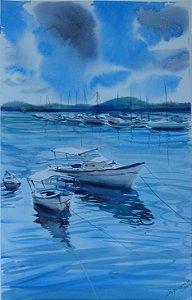 Pintura Original Em Aquarela Marina 49x31cm - Tela/Quadro Para Decoração Da Sua Casa