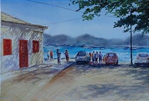 Pintura Original Em Aquarela Parati 47x32cm - Tela/Quadro Para Decoração Da Sua Casa