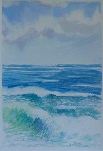 Pintura Original Em Aquarela Mar, Simplesmente 46x31cm - Tela/Quadro Para Decoração Da Sua Casa