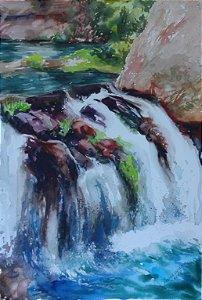 Pintura Original Em Aquarela Alguma Cachoeira 46x30cm - Tela/Quadro Para Decoração Da Sua Casa