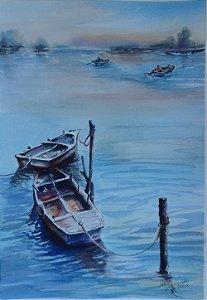 Pintura Original Em Aquarela Barcos Ancorados 47x32cm - Tela/Quadro Para Decoração Da Sua Casa