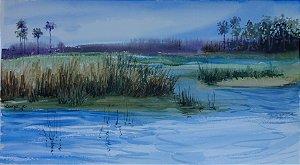 Pintura Original Em Aquarela Esse Laguinho Me Inspira 54x30cm - Tela/Quadro Para Decoração Da Sua Casa