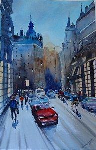 Pintura Original Em Aquarela Urbano-Homenagem a Álvaro 52x33cm - Tela/Quadro Para Decoração Da Sua Casa