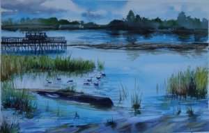 Pintura Original Em Aquarela Um Lago De Vancouver 55x35cm - Tela/Quadro Para Decoração Da Sua Casa