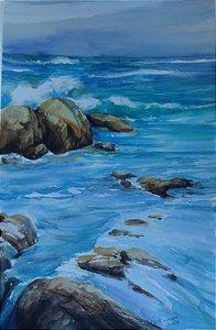 Pintura Original Em Aquarela - Mais Uma De Mar Com Rochas 55x36 cm - Tela/Quadro Para Decoração Da Sua Casa