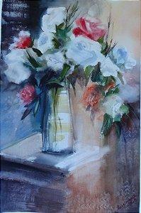 Pintura Original Em Aquarela Jarro Com Flores 55x33cm - Tela/Quadro Para Decoração Da Sua Casa