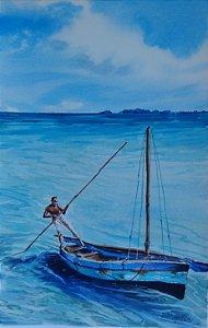 Pintura Original Em Aquarela Levando o Barco53x34cm - Tela/Quadro Para Decoração Da Sua Casa