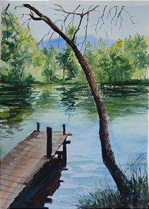 Pintura Original Em Aquarela Lago Com Deck 37x27cm - Tela/Quadro Para Decoração Da Sua Casa
