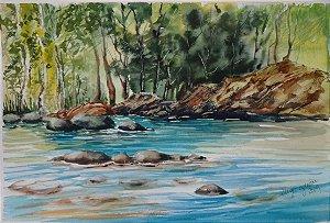 Pintura Original Em Aquarela Rio Eresma-Espanha 43x28cm - Tela/Quadro Para Decoração Da Sua Casa
