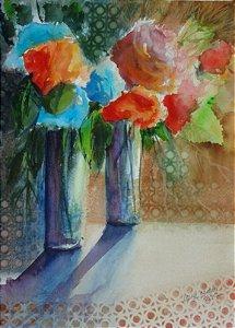 Pintura Original Em Aquarela Flores e Dois Vasos 36x26cm - Tela/Quadro Para Decoração Da Sua Casa