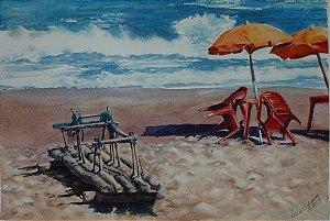 Pintura Praia Com Jangada Rústica 46x31cm - Tela/Quadro Para Decoração Da Sua Casa