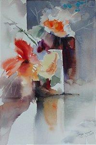 Pintura Original Em Aquarela Composição Com Flores 46x31cm - Tela/Quadro Para Decoração Da Sua Casa