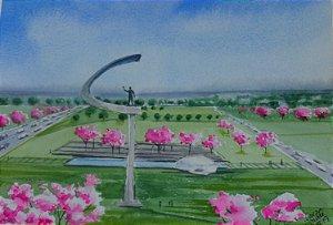 Pintura Original Em Aquarela Memorial JK 27x19cm - Tela/Quadro Para Decoração Da Sua Casa