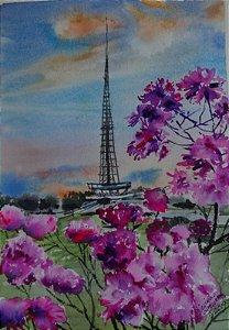 Pintura Original Em Aquarela  Ipê Roxo Com Torre de TV 27x19 cm - Tela/Quadro Para Decoração Da Sua Casa