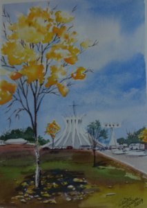 Pintura Em Aquarela - Ipê Amarelo-Símbolo de Brasília 27x19 cm - Tela/Quadro Para Decoração Da Sua Casa