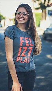 """Babylook """"Feliz7Play"""" - Cinza"""
