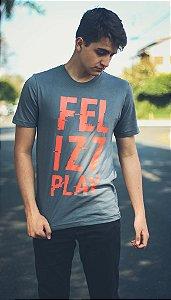 "Camiseta ""Feliz7Play"" - Cinza"