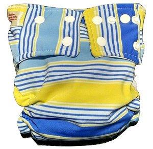 Fralda Praia/piscina/dia a dia UV+50 - Listras azul e amarela