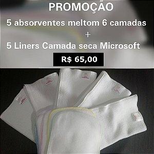 Chá de fralda Theo (pais Bárbara e Rogério) - Kit 5 absorvente melton + 5 liners
