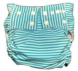 Fralda Praia/piscina/dia a dia UV+50 - Listra azul