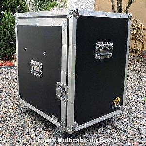 Case 3x1 Básico Preto com 3 gavetas e 1U rack