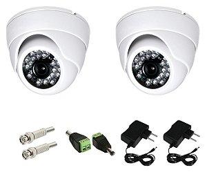 KIT 2 Câmeras Infra Vermelho Dome 1000 Linhas Lente de 3.6 mm 35 Metros GRÁTIS + 2 Conectores P4 +2 fonte 1A + 2 BNC Mol