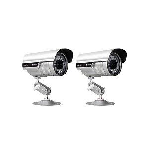 KIT com 2 Câmeras Infravermelho 1200 Linhas, Lente de 3.6 mm, distância infravermelho de até 35 metros com IP66 - GRÁTIS