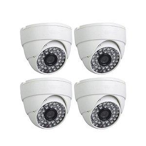 KIT 4 Câmeras Infravermelho Dome 1000 Linhas, Lente de 3.6 mm, Distância infravermelho até 30 metros - GRÁTIS Fontes e C