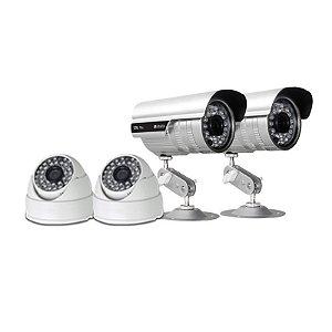 KIT com 2 Câmeras Infravermelho Dome 1000 linhas e 2 Câmeras Infravermelho Bullet 1.200 linhas - GRÁTIS Fontes e Conecto